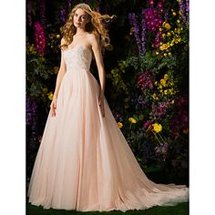 Lanting Bride® Ball Gown Petite Wedding Dress Wedding Dresses in Color Court Train Strapless Tulle with – USD $ 169.99