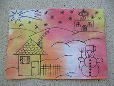 namočená čtvrtka (houbičkou), rozložit krepák (natrhaný)+ znovu navlhčit, nechat působit, sundat krepák, domalovat téma Winter Art, Christmas Crafts For Kids, Art Education, Art Lessons, Arts And Crafts, Snoopy, Fictional Characters, Winter Time, Noel