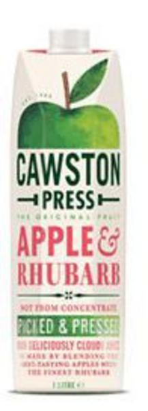 Apple & Rhubarb Juice  Cawston Press Sparkling Apple Rhubarb. Our Apple and Rhubarb is made with whole pressed apples and the finest pressed rhubarb. We searched high and low to find rhubarb that gives a wonderfully fresh and fruity flavour. The result is a juice that keeps winning taste tests and awards.
