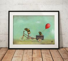 Bicycle and Bee Art Print - Bumble Bee Art - Etsy