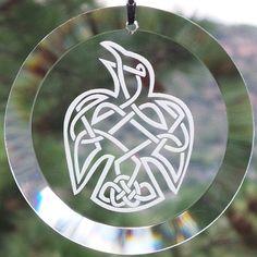 Etched Celtic Raven Glass Ornament - Suncatcher, Raven, Sun-catcher, Celtic Knot, Raven Knot, Viking, Odin