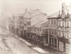 The earliest known photographs of Toronto are surely best known for the panorama of the fledging city taken by civil engineering firm Armstrong, Beere and Hime in 1856 atop the Rossin House Hotel at King and York streets. Toronto Street, Downtown Toronto, Toronto City, Old Pictures, Old Photos, Queen Street West, Yonge Street, Ocean House, Canadian History