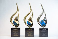 """For the Bonus Prizes, XPRIZE presented a customized version of the Bennett sculpture """"Eternal Spirit"""". These sculptures were adorned with custom crystal globes. The sculptures were mounted on black marble bases with personalized engraving similar to the other Shell Ocean Discovery XPRIZE awards. Award Names, University Of New Hampshire, Crystal Awards, Custom Awards, Recognition Awards, Geometric Sculpture, Black Marble, Globes, Discovery"""