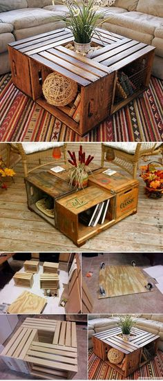 Antique Wine Crate Or Wood Box Coffee Table DIY Antike Weinkiste oder Holzkiste Couchtisch DIY This image has get Unique Coffee Table, Diy Coffee Table, Crate Coffee Tables, Wood Pallet Coffee Table, Wine Crate Coffee Table, Coffee Ideas, Wood Crates, Wood Boxes, Pallet Wood