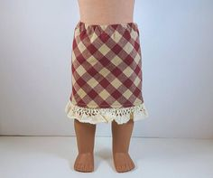 Gingham Skirt, Red Gingham, Cotton Lace, Cotton Fabric, Brown Bird, Little Brown, 18 Inch Doll, Lace Trim, Doll Clothes