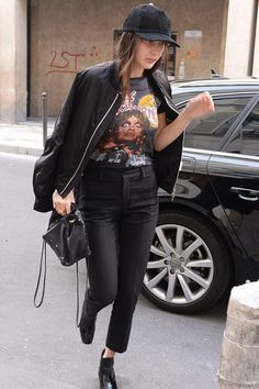 Bella+Hadid+wearing+Saint+Laurent+Babies+Patent-Leather+Chelsea+Boots