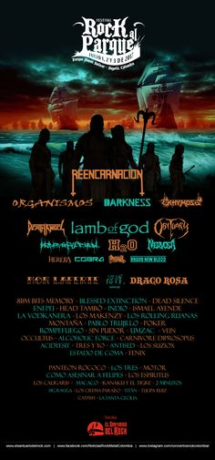 Poster - Rock al Parque 2017 - Bogotá, Colombia Rock Festival, Silence, Movies, Movie Posters, Band Posters, Parks, Bands, Colombia, Films