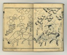 Hokusai drawing book (p. [17-18]), late 19th century. Author: Katsushika, Hokusai, 1760-1849. Illustrated with uncolored wood block prints. These pages show how to draw a man riding a donkey. University of Washington Libraries. Special Collections Division, Seattle, WA 98195-2900 (USA).
