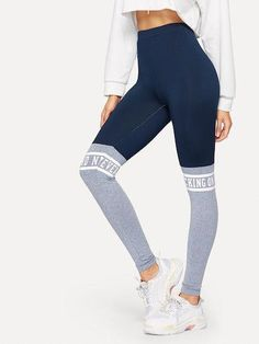 0cd32b33632 To find out about the Letter Print Color-block Leggings at SHEIN, part of  our latest Leggings ready to shop online today!