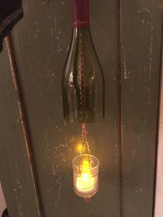 Recycled Wine Bottle Tea Light Holder, Wine Bottle Candle Holder, Hanging Lanterns Hurricane Lamp, Upcycled  Bottle by PetitTresorsStudio on Etsy