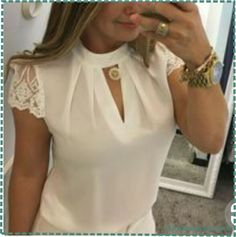 FeiTong Elegant hollow out chiffon blouse women Splice lace turtleneck summer blouse shirt Casual short sleeve blouse Size Super Moda, Lace Crop Tops, White Casual, White Tops, Women's Casual, Casual Outfits, Mode Outfits, Women's Summer Fashion, Short Sleeve Blouse