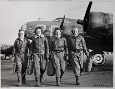 Members of the WASP (Women Airforce Service Pilots) are pictured at Lockbourne Army Air Field in World War II.  Bomber's Insignia in Background : Pistol Pace Mama