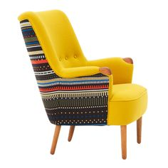Danish midcentury loungechair newly upholstered in Paul Smith fabric