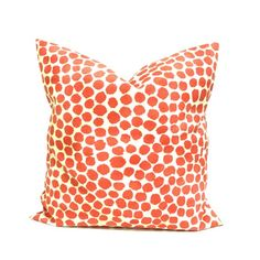 Outdoor Pillow Covers ANY SIZE Home Decor Outdoor Cushions Decorative Pillow Coral Outdoor Cushion Covers Genevieve Puff Dotty Coral Orange Cushion Covers, Orange Cushions, Blue Pillows, Outdoor Pillow Covers, Throw Pillow Covers, Photo Pillows, Fall Pillows, Pillow Fabric, Outdoor Fabric