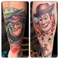 "Two friends from Disney ""Toy Story"" on the calf tattoo 90s Tattoos, Cartoon Tattoos, Time Tattoos, Disney Tattoos, Body Art Tattoos, Tattoos For Guys, Sleeve Tattoos, Tatoos, Color Tattoos"