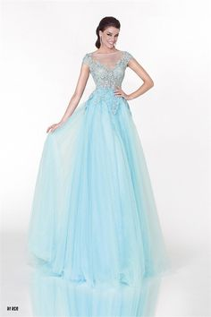 Princess A Line Illusion Neckline Cap Sleeve Light Blue Tulle Prom Dress