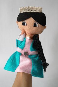 Princess doll, hand puppet, felt doll, handmade doll, rag doll, doll for girls by KinkinPuppets on Etsy