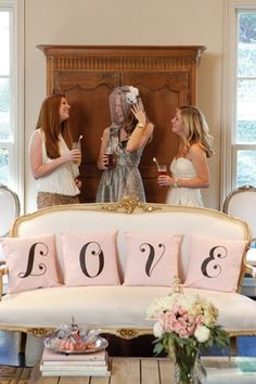 A Bridal Fête   DIY graphic pillows for a lovely bridal shower