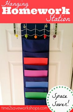 Homework Station Organizer {Hangs on Door to Save Space!}