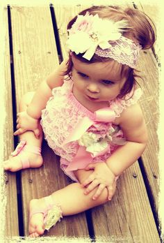 Lace Romper Set Baby girl birthday Baby shower gift by rockabutt, $59.00