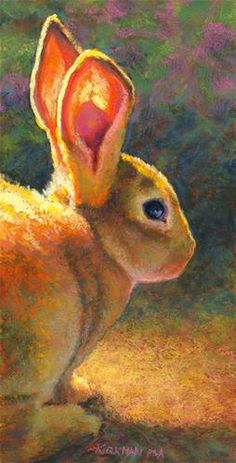 """The light through his ears! So beautifully done.  Daily Paintworks - """"A Good Listener"""" by Rita Kirkman"""