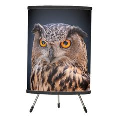 Eagle Owl Close-Up Photo Portrait Tripod Lamp - This mesmerizing table lamp features a face-on close-up head shot photograph of a mottled brown eagle owl showing its distinctive orange eyes. This bird of prey is presented against a gradient blue to black background. http://www.zazzle.com/eagle_owl_close_up_photo_portrait_tripod_lamp-256073830778749090?rf=238083504576446517&tc=pint