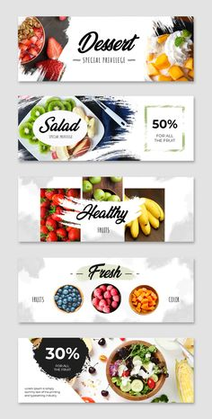 Banner Design Inspiration, Web Banner Design, Web Design, Facebook Cover Design, Facebook Cover Template, Food Graphic Design, Food Menu Design, Organic Food Shop, Food Template