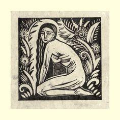 Zodiac series: Virgo (Aug23–Sept22) by Sarah Young, UK artist. Linoprint on handmade Bhutanese paper