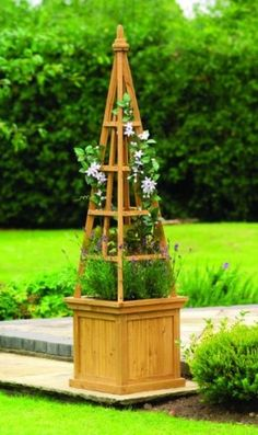 Planter Wooden Trellis Garden Box Flower Climber Pot Plant Wood Planters Yard
