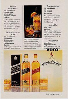 1991 magazine ad JOHNNIE WALKER Scotch Whisky alcohol advert mixer recipes