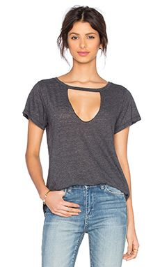 LNA Short Sleeve Cut Out V Neck Tee in Granite