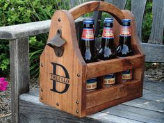 Wooden Beer Tote Personalized Beer Tote by RusticCreekWoodProd. Would be an awesome gift to give. And it has a bottle opener