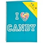I Love Candy Notebook - Use this large notebook for all of your doodles, as a journal or to document your summer at camp! Pair with a Dylan's Candy pen to complete the set. 160 pages of college ruled paper with an inside pocket to hold any additional note