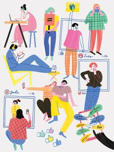 """I illustrated a group of millennials for an article titled """"The Ego Generation"""" on Sophia, a women's magazine based in Buenos Aires, Argentina."""