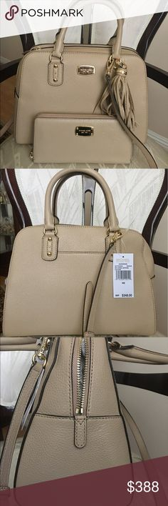 MICHAEL KORS SATCHEL + WALLET SET Michael Kors Sandrine satchel and matching wallet. All details about satchel and wallet you can find in separate listings. Michael Kors Bags Satchels