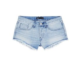 3x1 'WM5' cutoff denim shorts (62.570 HUF) ❤ liked on Polyvore featuring shorts, blue, fringe shorts, boyfriend shorts, blue jean shorts, denim cutoff shorts and cut off shorts