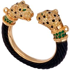 Leopard Emerald Diamond Bangle 1970 circa by J. Bondt (234,505 CAD) ❤ liked on Polyvore featuring jewelry, bracelets, pulseras, bangle bracelet, hinged bracelet, yellow bangle bracelet, leopard jewelry and diamond bangle
