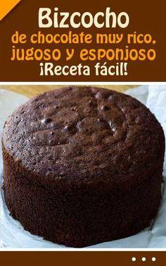 Bizcocho de chocolate muy rico, jugoso y esponjoso. Sweet Recipes, Cake Recipes, Dessert Recipes, Food Cakes, Cupcake Cakes, Savoury Cake, Chocolate Desserts, Cake Chocolate, Cake Cookies