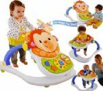 Fisher Price 4-in-1 Monkey Entertainer Infant Baby Play Feeding Seat Walker Chair Musical Toy