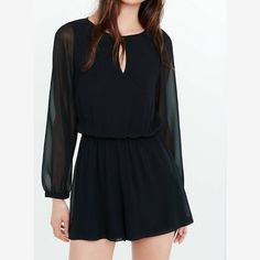 Black Long sleeve romper Perfect condition! Worn once. Express Dresses