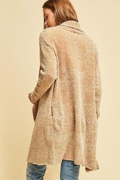 Taupe chenille shawl collar cardigan featuring pocket detail at side. Non-sheer. Shawl Collar Cardigan, Summer Cardigan, Pocket Detail, Taupe, Turtle Neck, Flats, Pullover, Sweaters, Image