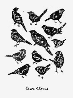 Dawn Chorus by Charlotte Farmer.  #silhouette #birds #lettering #calligraphy