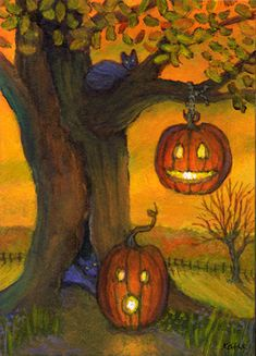 'Hangin' Jack' by Kathe Soave, ACEO Halloween pumpkins jack o'lanterns cats art card