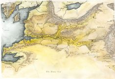 Non-canon watercolour map of Harnendor in Middle-earth (lands along the river Harnen). 1999.