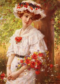 """Under the cherry tree""- Emile Vernon - 1809 floral garden art"