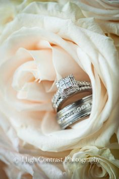 Photo by High Contrast Photography #wedding #rings #flowers #rose #bouquet