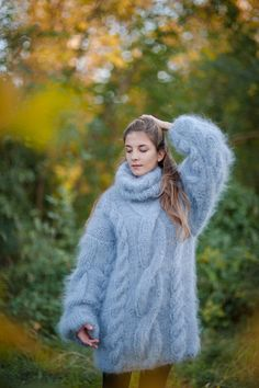 hand knitted mohair turtleneck sweater dove gray by CozyKnittings