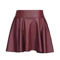 Yoins Dark Red Leather Look Skater Skirt With Elastic Band ($10) ❤ liked on Polyvore featuring skirts, fuchsia, faux leather pleated skirt, high-waisted skirts, high-waist skirt, pleated skirt and faux leather skirt