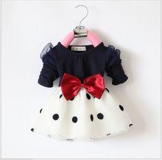 infant chiffon dress with big bow-knot kids fashion polka dress