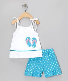 White Flip-Flop Tie-Strap Tank & Shorts - Infant, Toddler & Girls by Sweet Teas Children's Boutique on #zulily